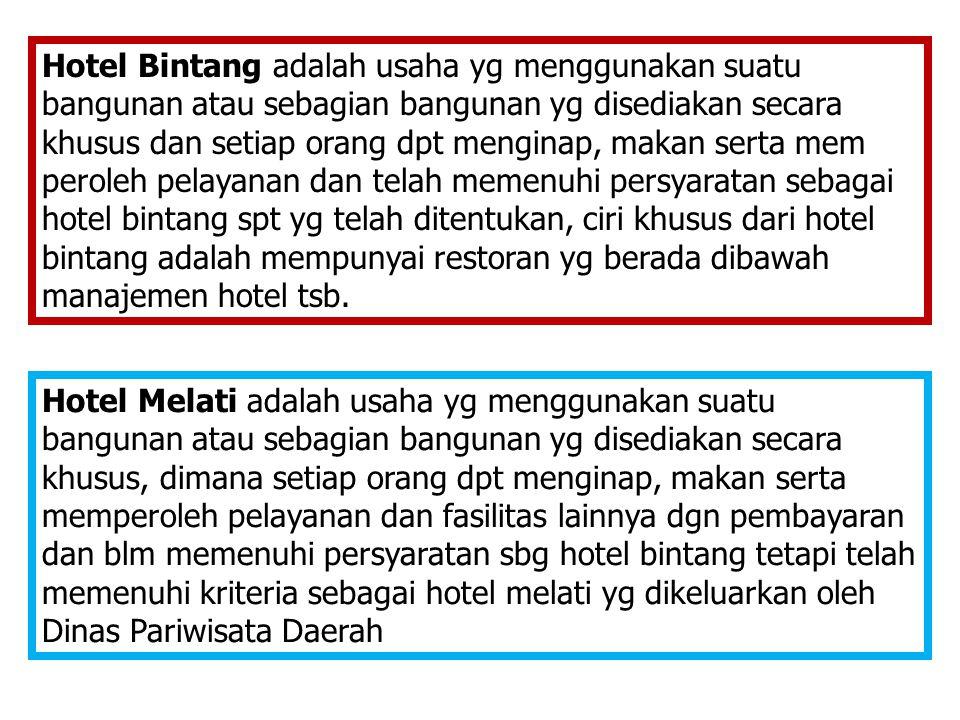 Hotel Bintang adalah usaha yg menggunakan suatu bangunan atau sebagian bangunan yg disediakan secara khusus dan setiap orang dpt menginap, makan serta
