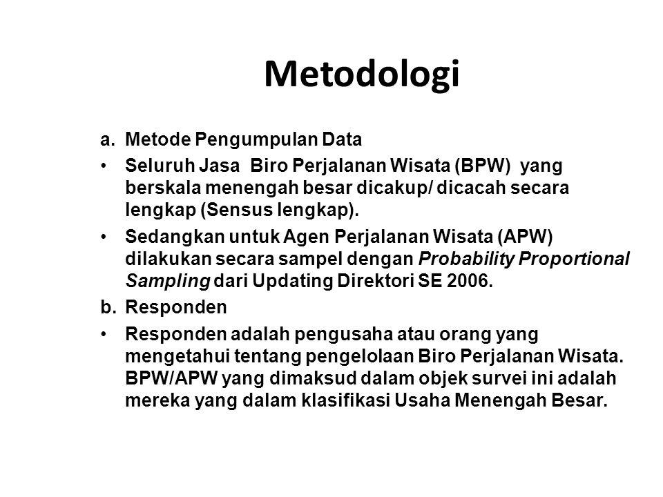 Metodologi a.Metode Pengumpulan Data Seluruh Jasa Biro Perjalanan Wisata (BPW) yang berskala menengah besar dicakup/ dicacah secara lengkap (Sensus le