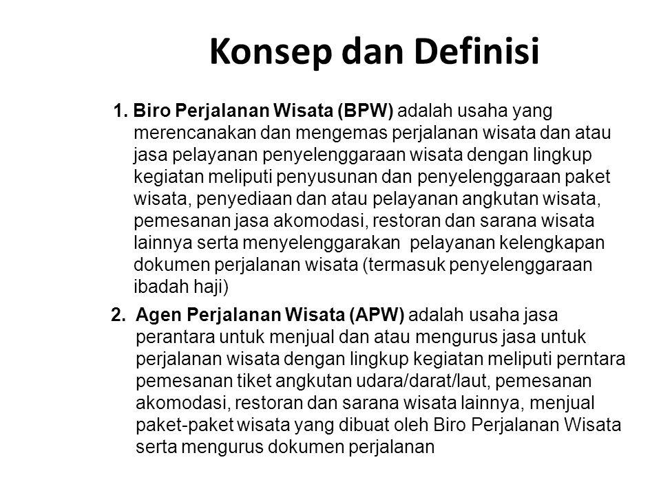 1. Biro Perjalanan Wisata (BPW) adalah usaha yang merencanakan dan mengemas perjalanan wisata dan atau jasa pelayanan penyelenggaraan wisata dengan li