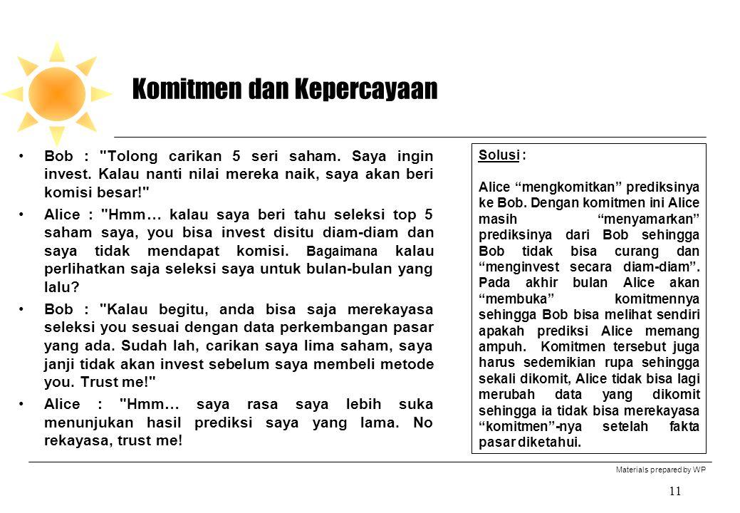 Materials prepared by WP 11 Komitmen dan Kepercayaan Bob : Tolong carikan 5 seri saham.