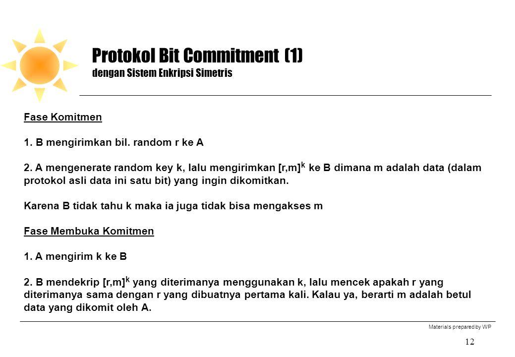 Materials prepared by WP 12 Protokol Bit Commitment (1) dengan Sistem Enkripsi Simetris Fase Komitmen 1.