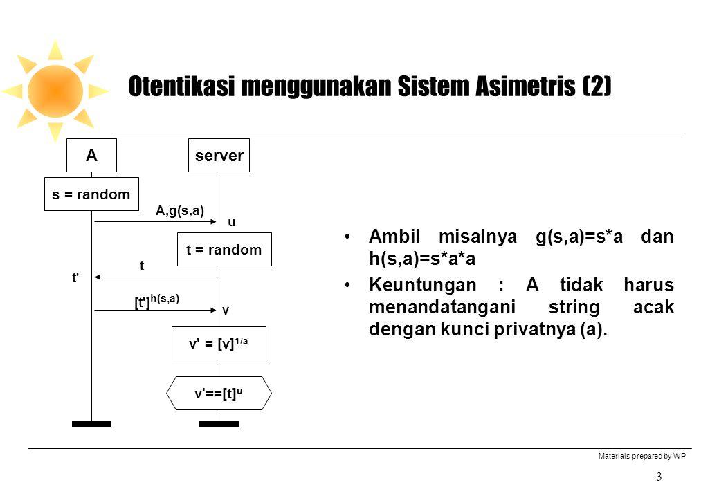 Materials prepared by WP 3 Otentikasi menggunakan Sistem Asimetris (2) Ambil misalnya g(s,a)=s*a dan h(s,a)=s*a*a Keuntungan : A tidak harus menandatangani string acak dengan kunci privatnya (a).