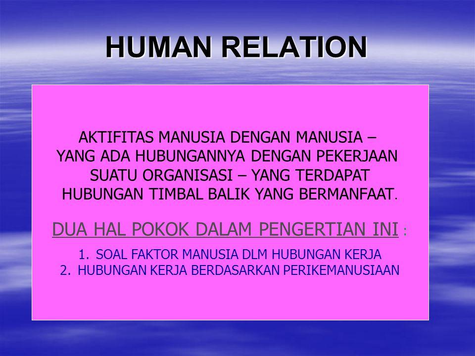 HUMAN RELATION AKTIFITAS MANUSIA DENGAN MANUSIA – YANG ADA HUBUNGANNYA DENGAN PEKERJAAN SUATU ORGANISASI – YANG TERDAPAT HUBUNGAN TIMBAL BALIK YANG BE