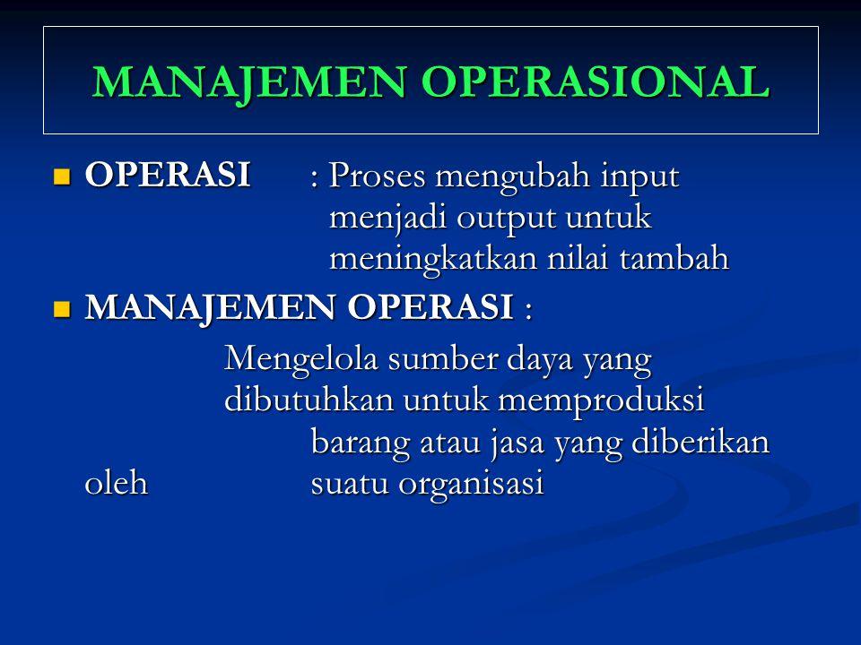 MANAJEMEN OPERASIONAL OPERASI : Proses mengubah input menjadi output untuk meningkatkan nilai tambah OPERASI : Proses mengubah input menjadi output un
