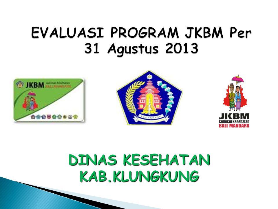 EVALUASI PROGRAM JKBM Per 31 Agustus 2013 DINAS KESEHATAN KAB.KLUNGKUNG