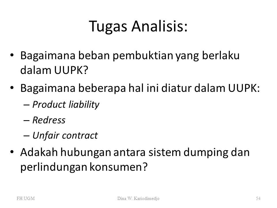 Tugas Analisis: Bagaimana beban pembuktian yang berlaku dalam UUPK? Bagaimana beberapa hal ini diatur dalam UUPK: – Product liability – Redress – Unfa