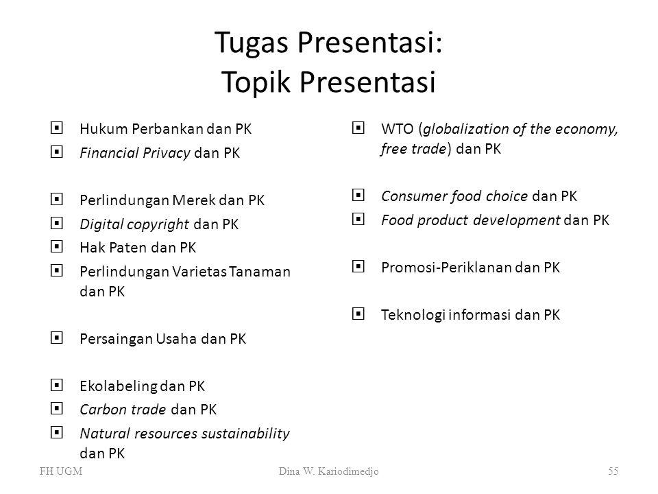 Tugas Presentasi: Topik Presentasi  Hukum Perbankan dan PK  Financial Privacy dan PK  Perlindungan Merek dan PK  Digital copyright dan PK  Hak Pa