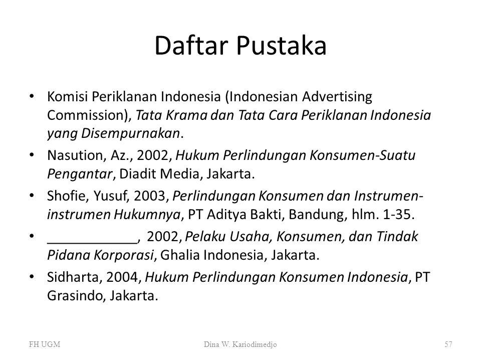 Daftar Pustaka Komisi Periklanan Indonesia (Indonesian Advertising Commission), Tata Krama dan Tata Cara Periklanan Indonesia yang Disempurnakan. Nasu