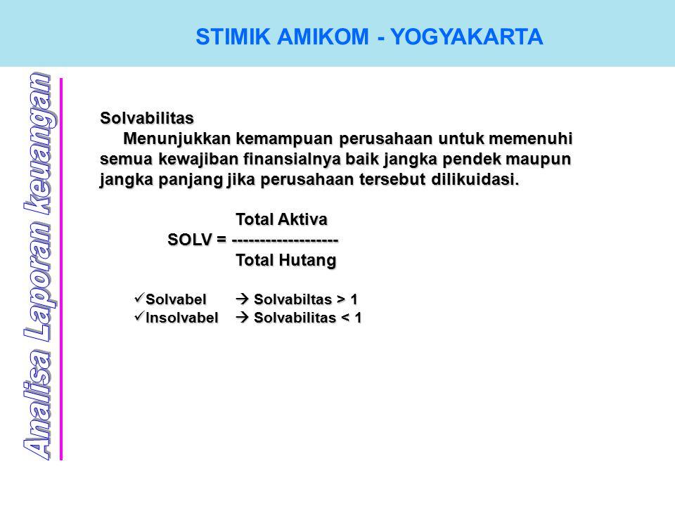 STIMIK AMIKOM - YOGYAKARTA Solvabilitas Menunjukkan kemampuan perusahaan untuk memenuhi semua kewajiban finansialnya baik jangka pendek maupun jangka panjang jika perusahaan tersebut dilikuidasi.