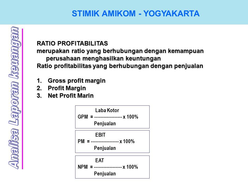 STIMIK AMIKOM - YOGYAKARTA RATIO PROFITABILITAS merupakan ratio yang berhubungan dengan kemampuan perusahaan menghasilkan keuntungan Ratio profitabilitas yang berhubungan dengan penjualan 1.