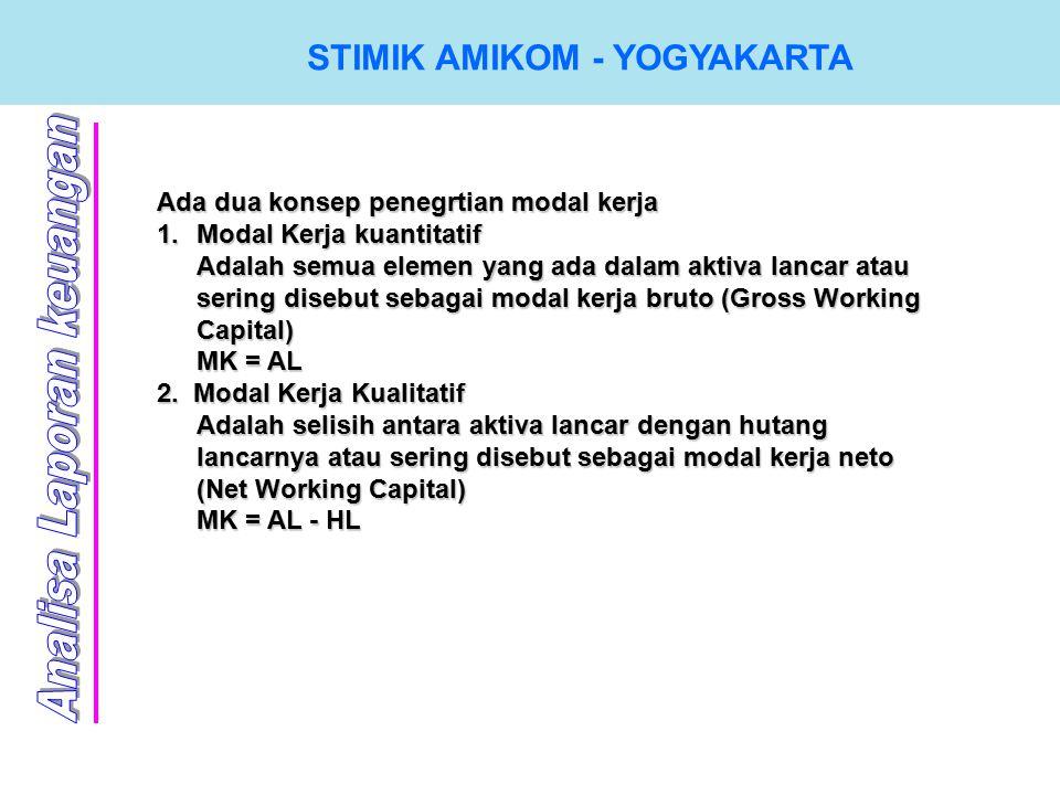 Ada dua konsep penegrtian modal kerja 1.M odal Kerja kuantitatif Adalah semua elemen yang ada dalam aktiva lancar atau sering disebut sebagai modal kerja bruto (Gross Working Capital) MK = AL 2.