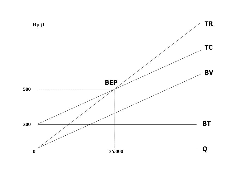Q BT BV TC TR BEP 25.000 200 500 0 Rp jt