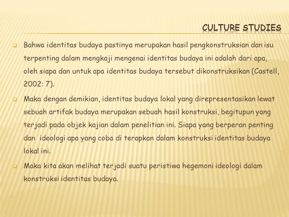  Bahwa identitas budaya pastinya merupakan hasil pengkonstruksian dan isu terpenting dalam mengkaji mengenai identitas budaya ini adalah dari apa, ol