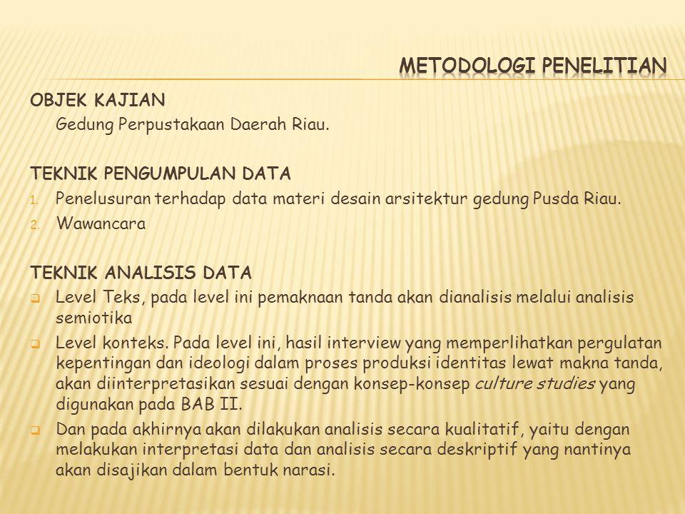 OBJEK KAJIAN Gedung Perpustakaan Daerah Riau. TEKNIK PENGUMPULAN DATA 1. Penelusuran terhadap data materi desain arsitektur gedung Pusda Riau. 2. Wawa
