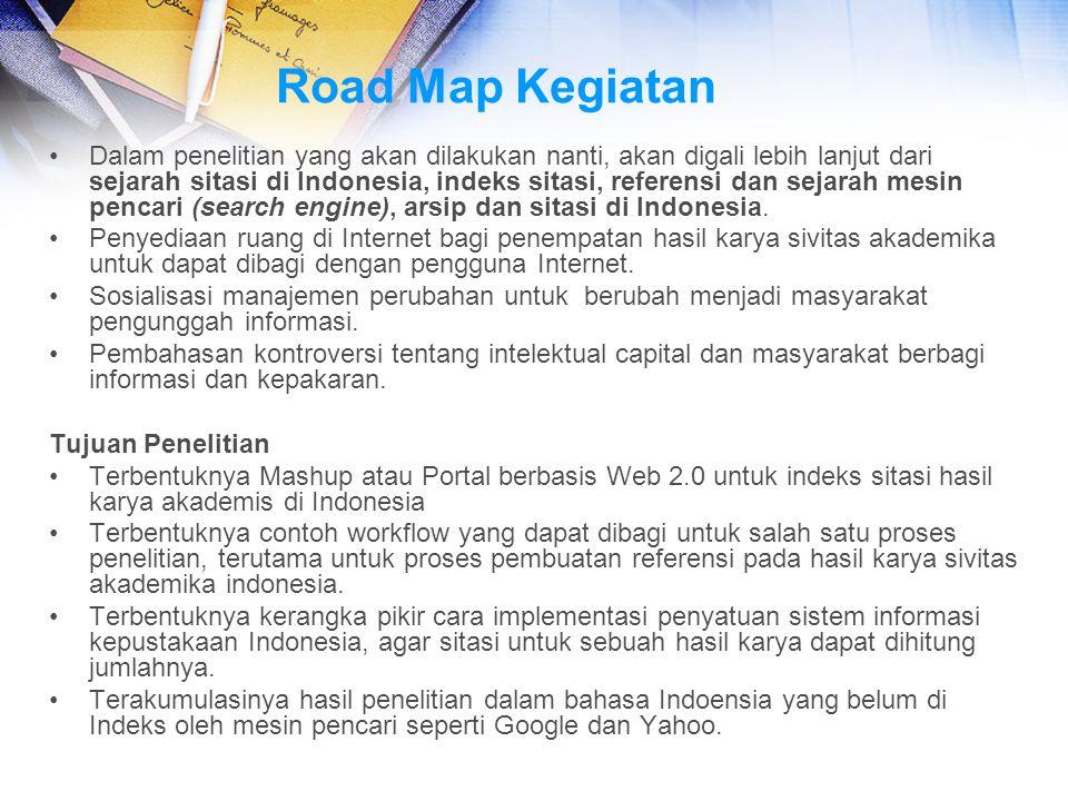 Road Map Kegiatan Dalam penelitian yang akan dilakukan nanti, akan digali lebih lanjut dari sejarah sitasi di Indonesia, indeks sitasi, referensi dan
