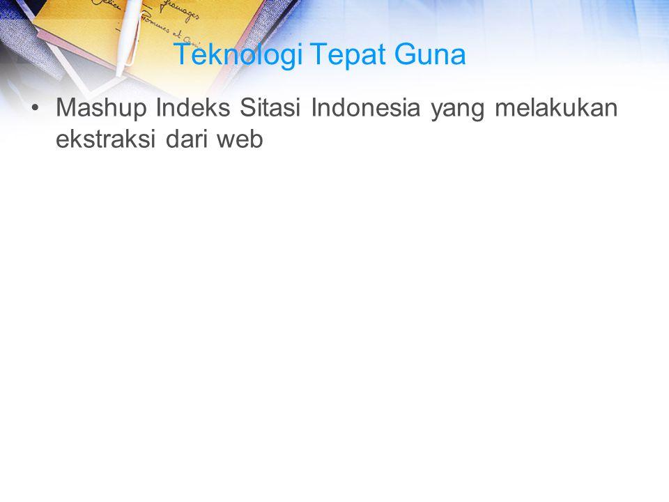 Teknologi Tepat Guna Mashup Indeks Sitasi Indonesia yang melakukan ekstraksi dari web