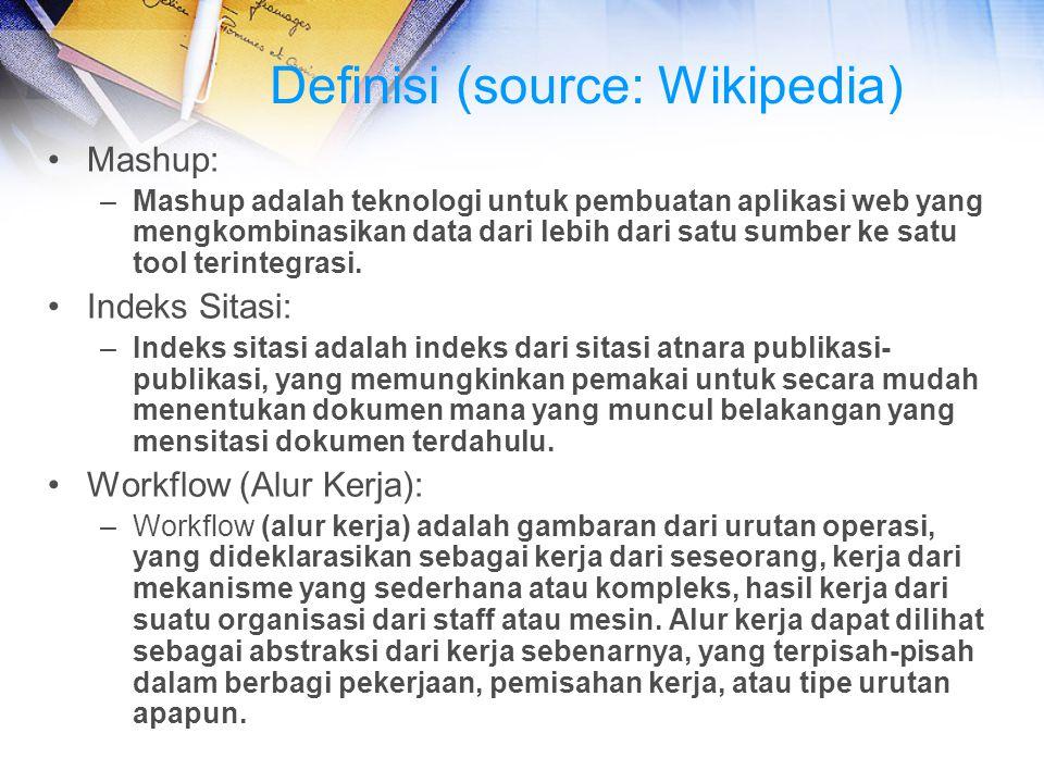Definisi (source: Wikipedia) Mashup: –Mashup adalah teknologi untuk pembuatan aplikasi web yang mengkombinasikan data dari lebih dari satu sumber ke s