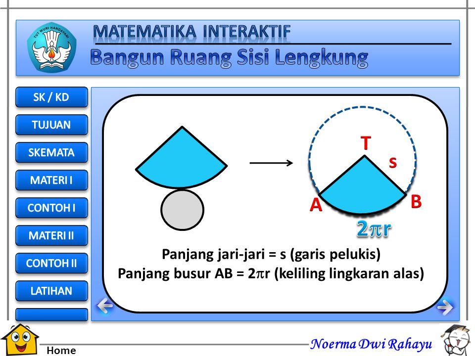 Noerma Dwi Rahayu Home Selimut kerucut yang berupa juring dengan jari-jari s dan panjang busur AB = 2  r Alas berbentuk lingkaran dengan jari-jari r