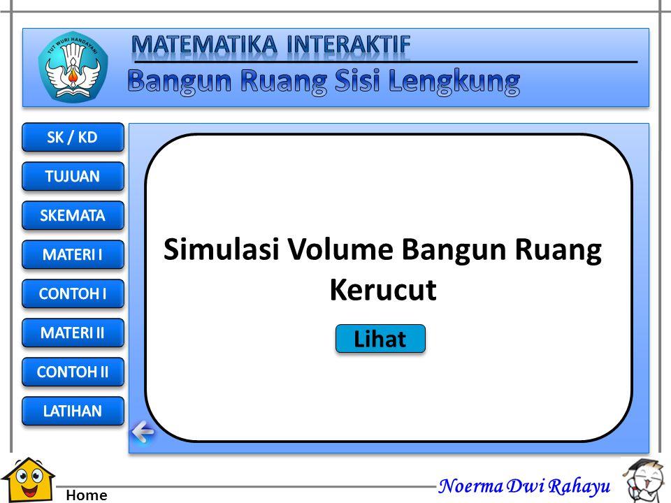 Noerma Dwi Rahayu Home Volume = isi atau kapasitas Volume atau bisa juga disebut kapasitas adalah penghitungan seberapa banyak ruang yang bisa ditempa