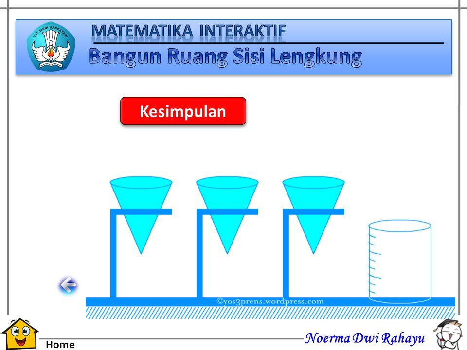 Noerma Dwi Rahayu Home 3 buah kerucut akan diisi dengan air hingga penuh, kemudian seluruh air pada ketiga kerucut dibawah akan dituangkan kedalam tab