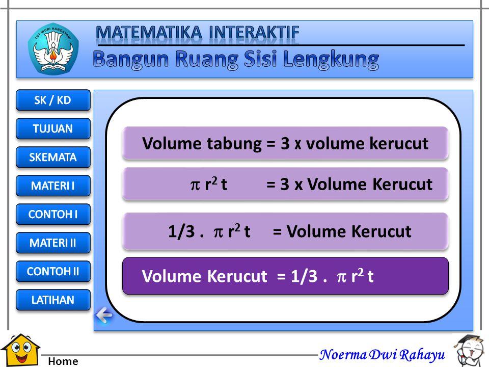 Noerma Dwi Rahayu Home Tabung terisi penuh oleh 3 buah kerucut Volume tabung = 3 x volume kerucut Next
