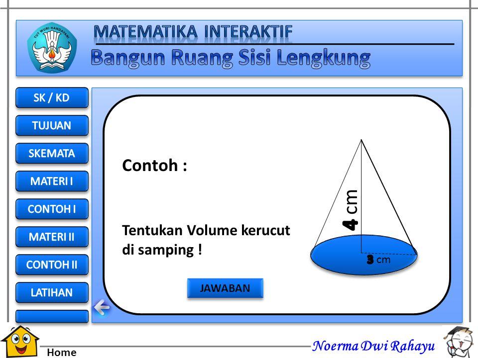 Noerma Dwi Rahayu Home Volume tabung = 3 x volume kerucut  r 2 t = 3 x Volume Kerucut 1/3.  r 2 t = Volume Kerucut Volume Kerucut = 1/3.  r 2 t Vol