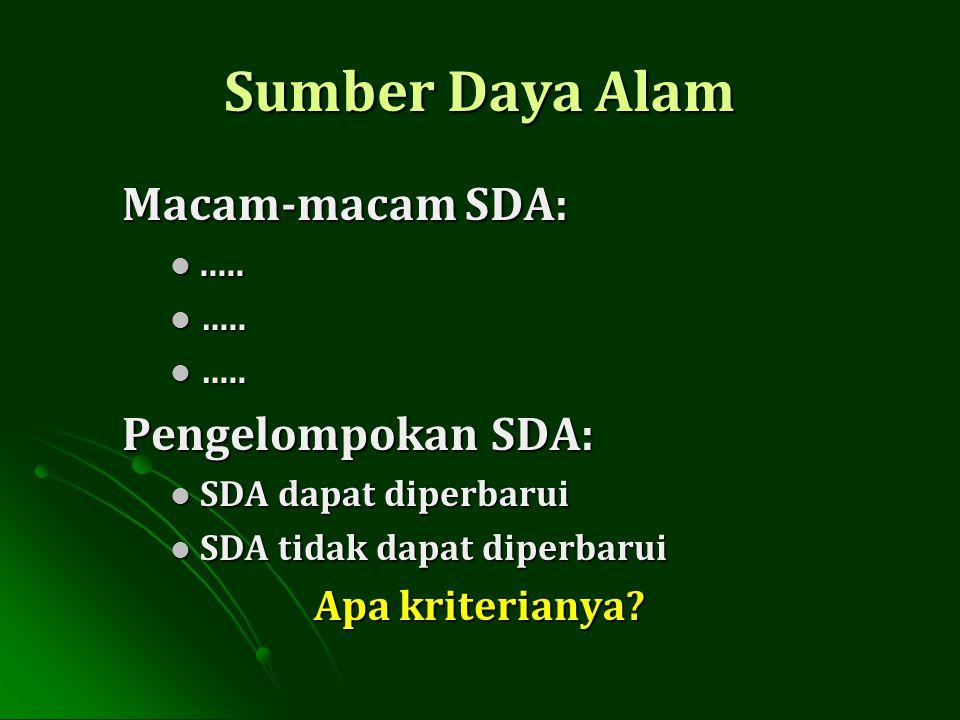 Sumber Daya Alam Macam-macam SDA:.......... ….. ….. Pengelompokan SDA: SDA dapat diperbarui SDA dapat diperbarui SDA tidak dapat diperbarui SDA tidak