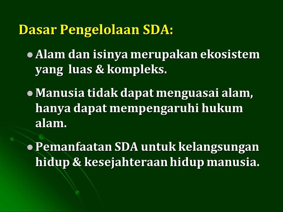 Skema pengelolaan SDA Skema pengelolaan SDA SDA dapat diperbarui digunakan waste product harus dikelola tdk dpt diperbarui pencemaran SDA Sekunder digunakandiproses tdk.