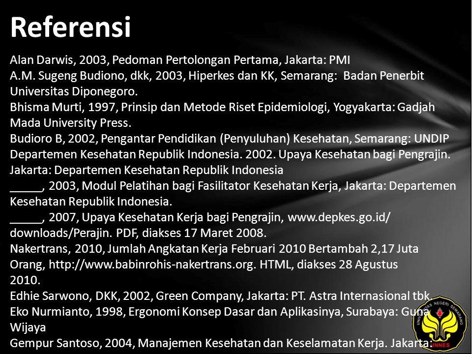 Referensi Alan Darwis, 2003, Pedoman Pertolongan Pertama, Jakarta: PMI A.M. Sugeng Budiono, dkk, 2003, Hiperkes dan KK, Semarang: Badan Penerbit Unive