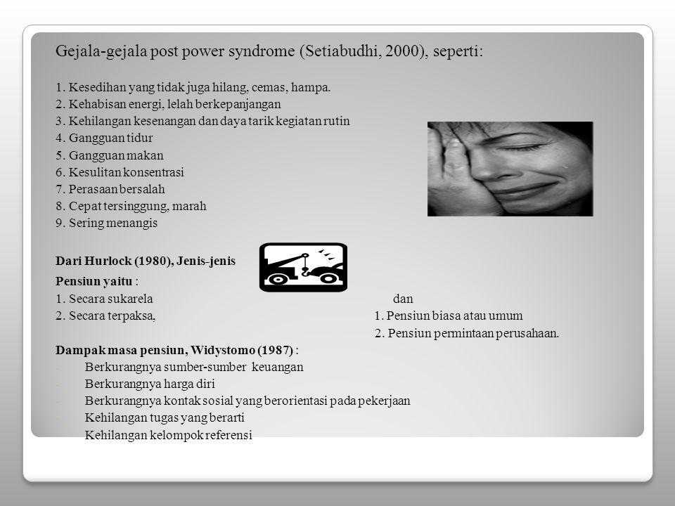 Gejala-gejala post power syndrome (Setiabudhi, 2000), seperti: 1.