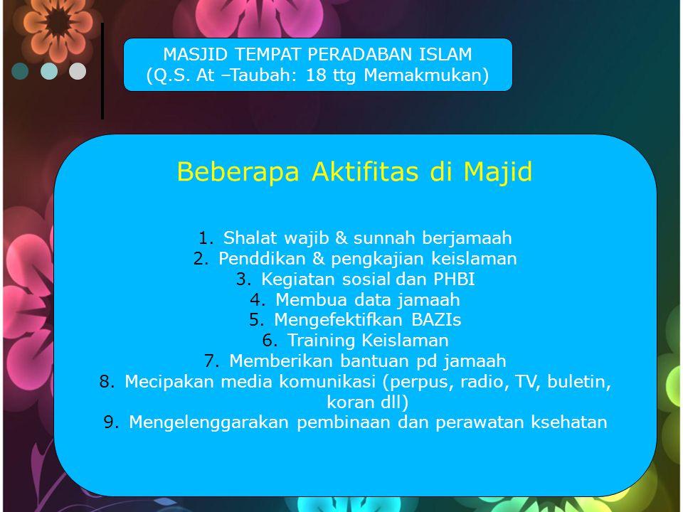 MASJID TEMPAT PERADABAN ISLAM (Q.S.
