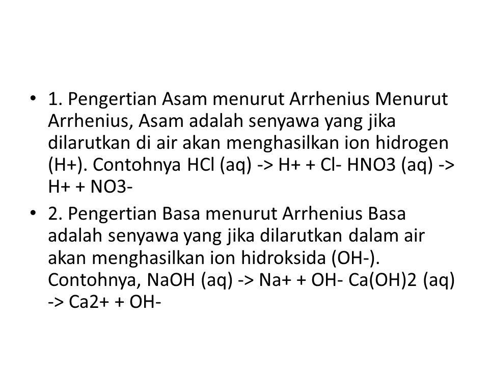 1. Pengertian Asam menurut Arrhenius Menurut Arrhenius, Asam adalah senyawa yang jika dilarutkan di air akan menghasilkan ion hidrogen (H+). Contohnya