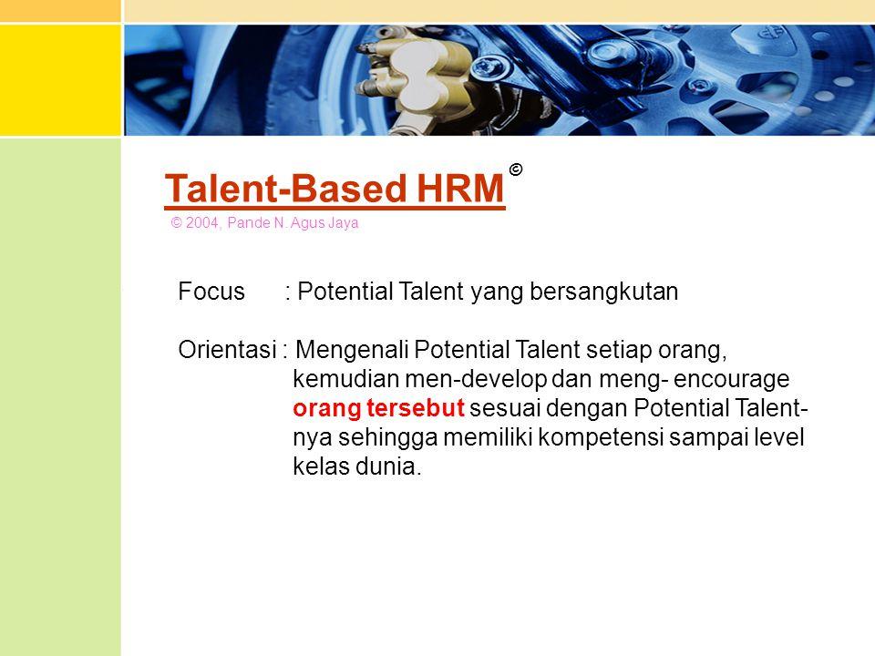 Talent-Based HRM © 2004, Pande N. Agus Jaya © Focus : Potential Talent yang bersangkutan Orientasi : Mengenali Potential Talent setiap orang, kemudian