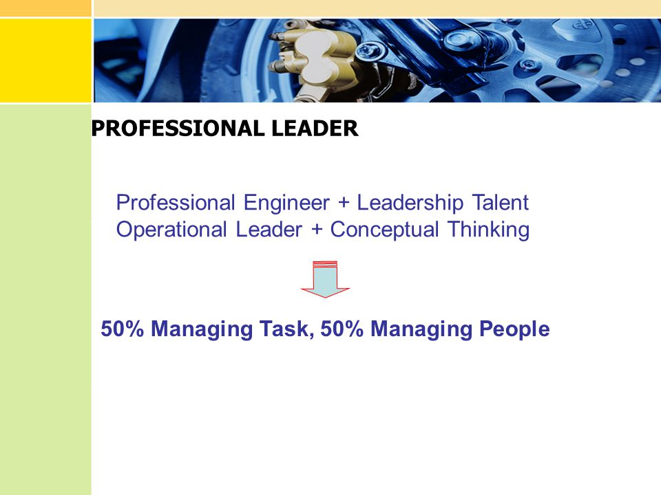 Professional Engineer + Leadership Talent Operational Leader + Conceptual Thinking 50% Managing Task, 50% Managing People PROFESSIONAL LEADER