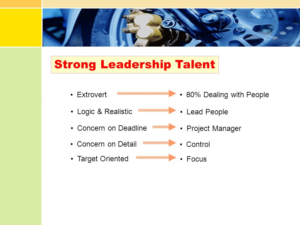 Strong Leadership Talent Extrovert Concern on Detail Logic & Realistic Target Oriented Concern on Deadline 80% Dealing with People Control Lead People