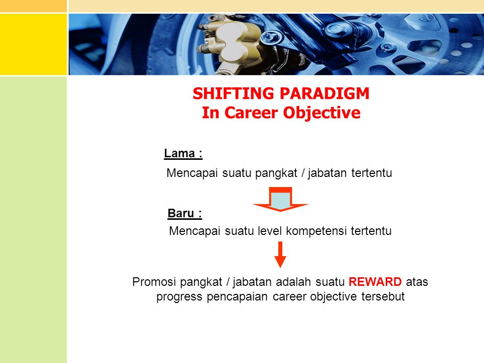 SHIFTING PARADIGM In Career Objective Mencapai suatu pangkat / jabatan tertentu Mencapai suatu level kompetensi tertentu Promosi pangkat / jabatan ada
