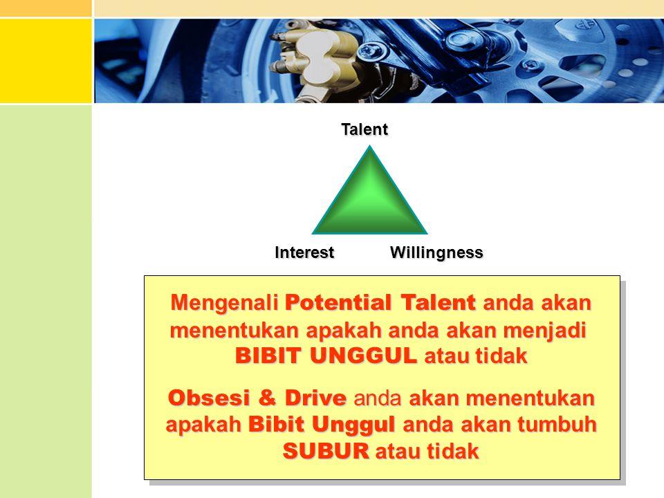 Mengenali Potential Talent anda akan menentukan apakah anda akan menjadi BIBIT UNGGUL atau tidak Obsesi & Drive anda akan menentukan apakah Bibit Ungg