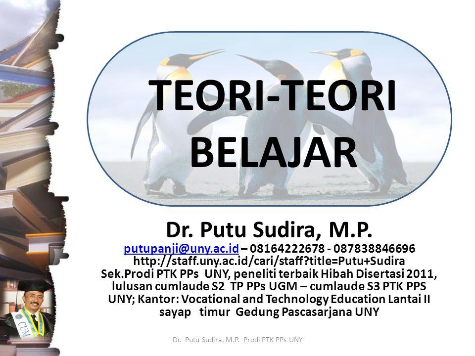 TEORI-TEORI BELAJAR Dr. Putu Sudira, M.P. putupanji@uny.ac.idputupanji@uny.ac.id – 08164222678 - 087838846696 http://staff.uny.ac.id/cari/staff?title=