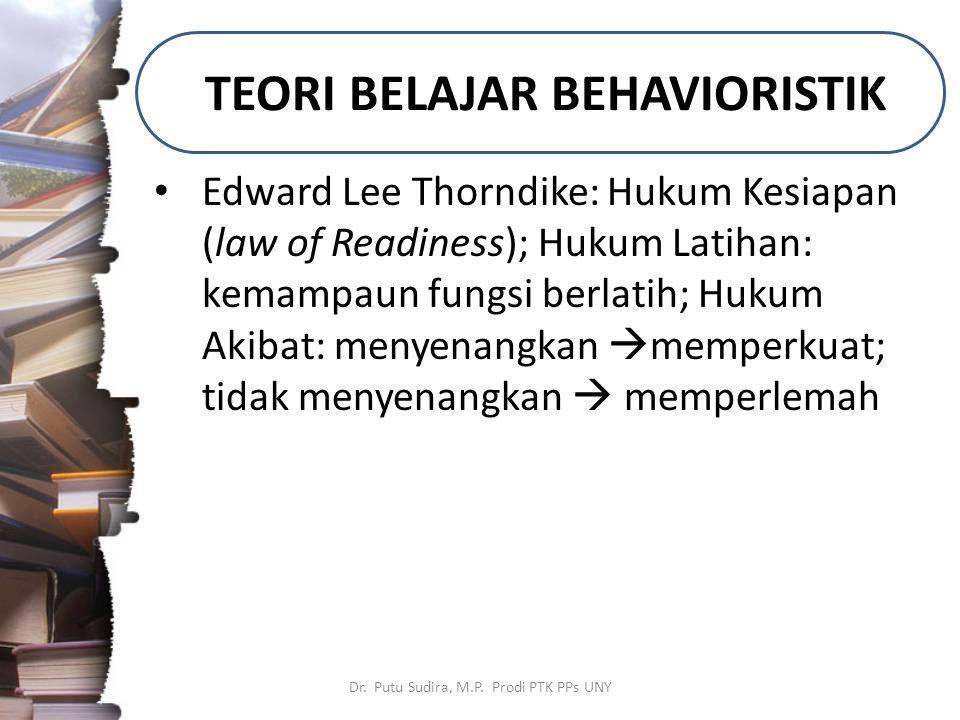 TEORI BELAJAR BEHAVIORISTIK Dr. Putu Sudira, M.P. Prodi PTK PPs UNY Edward Lee Thorndike: Hukum Kesiapan (law of Readiness); Hukum Latihan: kemampaun