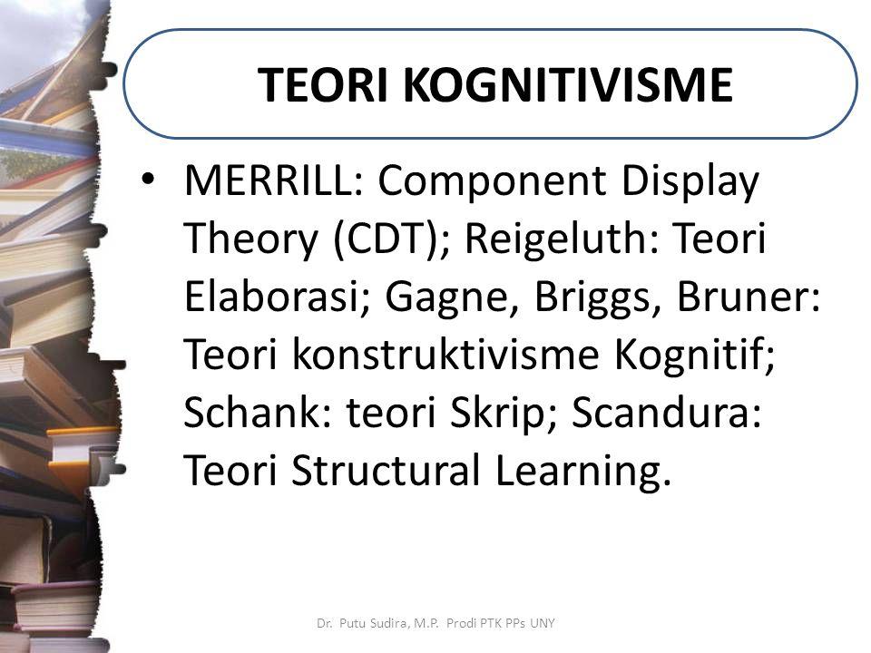 TEORI KOGNITIVISME Dr. Putu Sudira, M.P. Prodi PTK PPs UNY MERRILL: Component Display Theory (CDT); Reigeluth: Teori Elaborasi; Gagne, Briggs, Bruner: