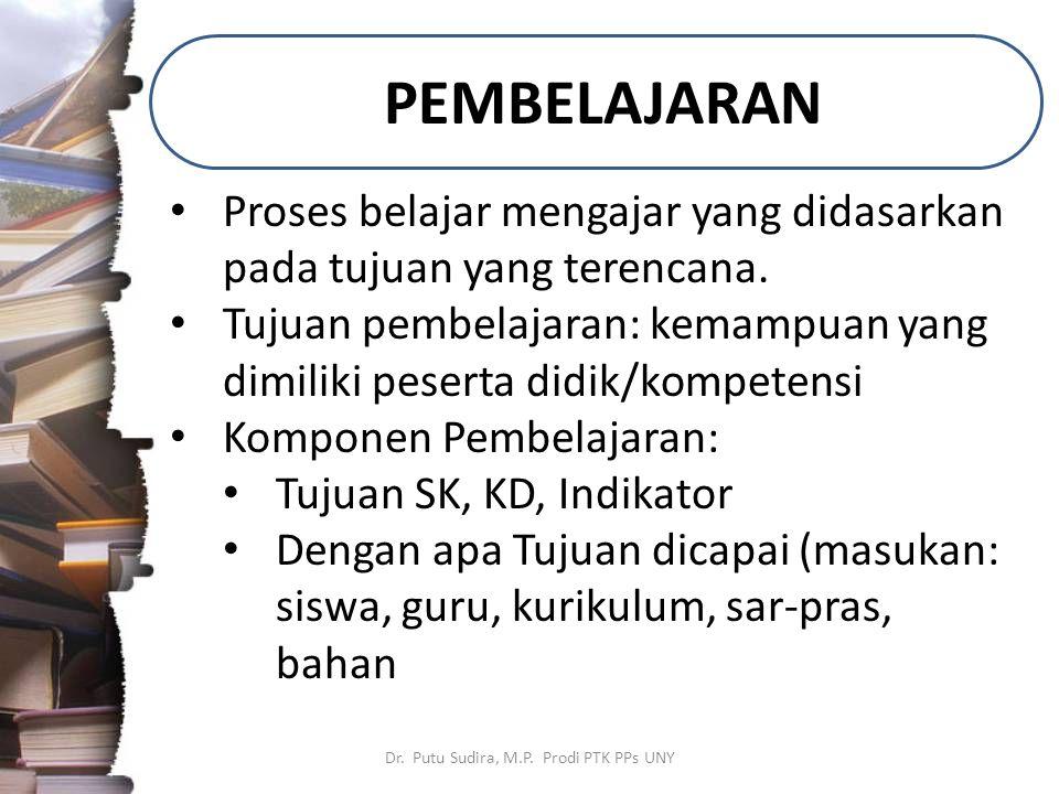 PEMBELAJARAN Dr. Putu Sudira, M.P. Prodi PTK PPs UNY Proses belajar mengajar yang didasarkan pada tujuan yang terencana. Tujuan pembelajaran: kemampua