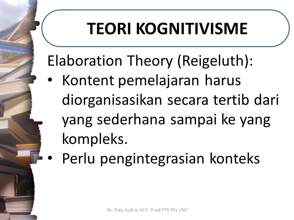 TEORI KOGNITIVISME Dr. Putu Sudira, M.P. Prodi PTK PPs UNY Elaboration Theory (Reigeluth): Kontent pemelajaran harus diorganisasikan secara tertib dar