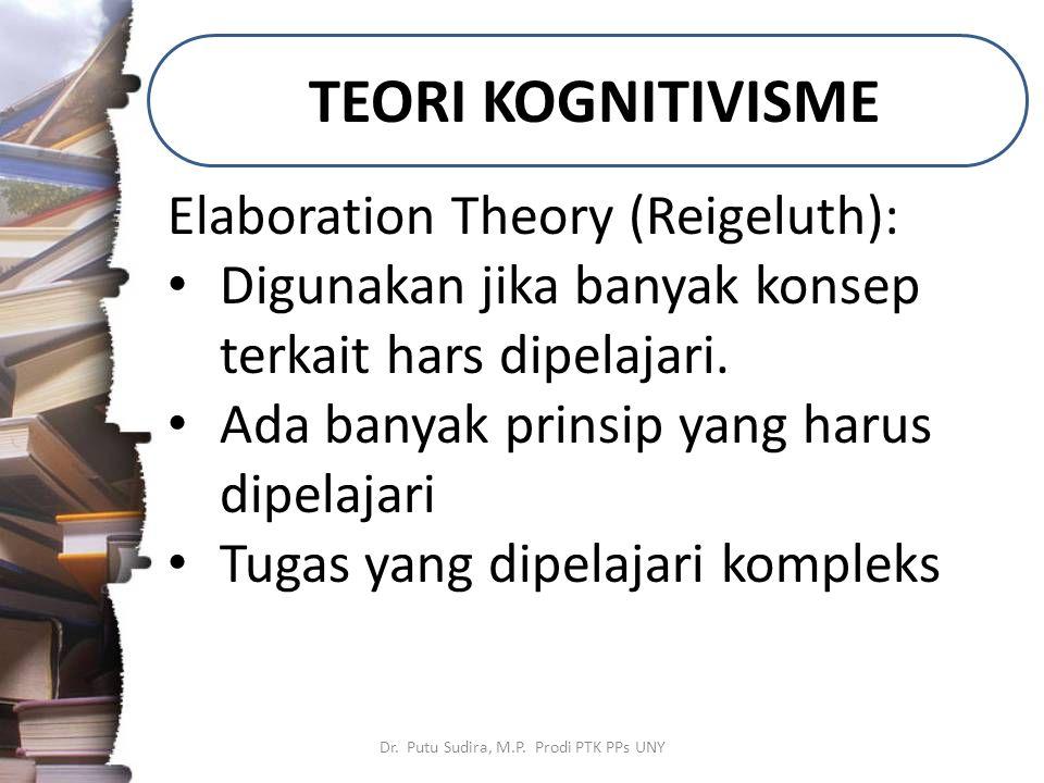 TEORI KOGNITIVISME Dr. Putu Sudira, M.P. Prodi PTK PPs UNY Elaboration Theory (Reigeluth): Digunakan jika banyak konsep terkait hars dipelajari. Ada b
