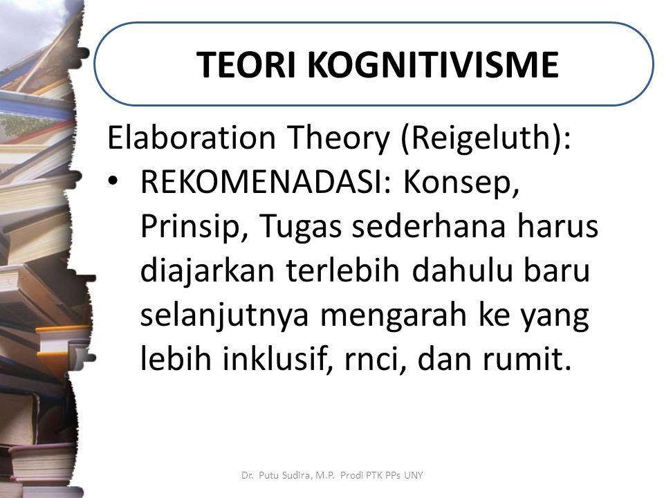 TEORI KOGNITIVISME Dr. Putu Sudira, M.P. Prodi PTK PPs UNY Elaboration Theory (Reigeluth): REKOMENADASI: Konsep, Prinsip, Tugas sederhana harus diajar