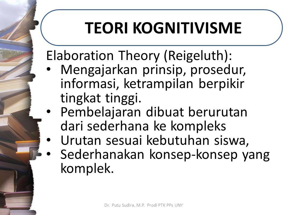 TEORI KOGNITIVISME Dr. Putu Sudira, M.P. Prodi PTK PPs UNY Elaboration Theory (Reigeluth): Mengajarkan prinsip, prosedur, informasi, ketrampilan berpi