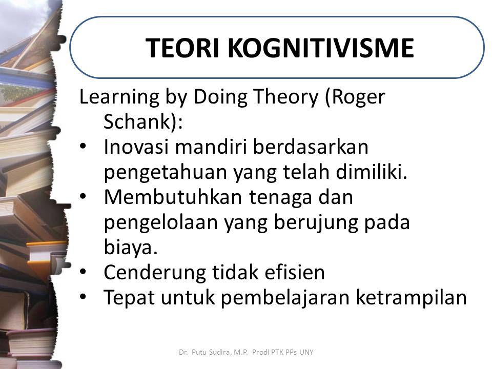 TEORI KOGNITIVISME Dr. Putu Sudira, M.P. Prodi PTK PPs UNY Learning by Doing Theory (Roger Schank): Inovasi mandiri berdasarkan pengetahuan yang telah