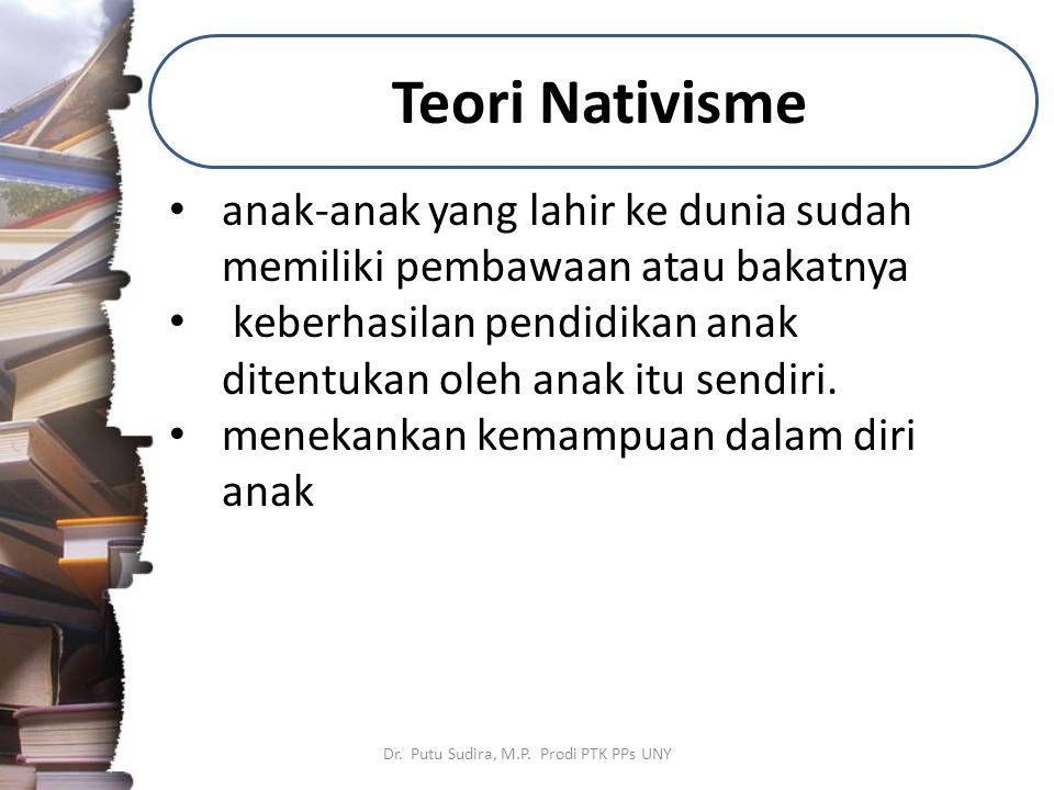 Teori Nativisme Dr. Putu Sudira, M.P. Prodi PTK PPs UNY anak-anak yang lahir ke dunia sudah memiliki pembawaan atau bakatnya keberhasilan pendidikan a