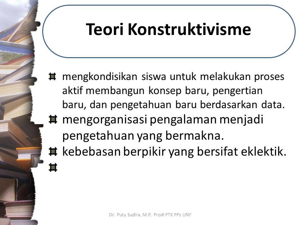 Teori Konstruktivisme Dr. Putu Sudira, M.P. Prodi PTK PPs UNY mengkondisikan siswa untuk melakukan proses aktif membangun konsep baru, pengertian baru