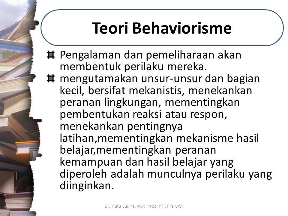 Teori Behaviorisme Dr. Putu Sudira, M.P. Prodi PTK PPs UNY Pengalaman dan pemeliharaan akan membentuk perilaku mereka. mengutamakan unsur-unsur dan ba
