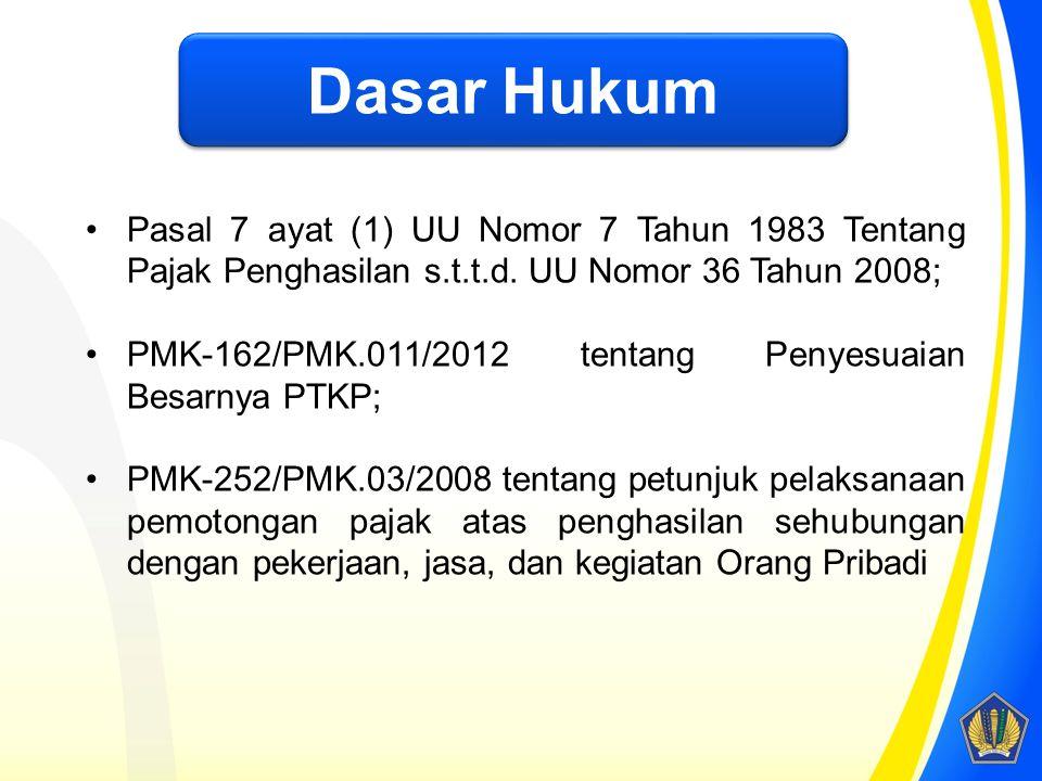 Dasar Hukum Pasal 7 ayat (1) UU Nomor 7 Tahun 1983 Tentang Pajak Penghasilan s.t.t.d. UU Nomor 36 Tahun 2008; PMK-162/PMK.011/2012 tentang Penyesuaian